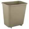 Rubbermaid Commercial Deskside Plastic Wastebasket, Rectangular, 2 gal, Beige