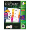 Avery Ready Index Customizable Table of Contents, Asst Dividers, 5-Tab, Ltr, 3 Sets