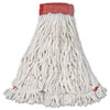 Rubbermaid Commercial Web Foot Wet Mop Head, Shrinkless, Cotton/Synthetic, White, Large, 6/Carton