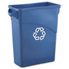 Slim Jim Recycling W/Handles, Rectangular, Plastic, 15 7/8gal, Blue