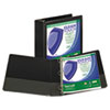 "Clean Touch Locking Round Ring View Binder, 3"" Capacity, Black"