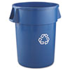 Brute Recycling Container, Round, 44gal, Blue
