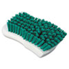 "Scrub Brush, Green Polypropylene Fill, 6"" Long, White Handle"
