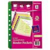 Avery Small Binder Pockets, Standard, 7-Hole Punched, Assorted, 5-1/2 x 11, 5/Pack