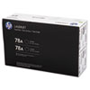CE278D (HP 78A) Toner Cartridge, 2,100 Page-Yield, Black, 2/Pk