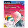 Apollo Quick-Dry Transparency Film, Removable Sensing Stripe, Letter, Clear, 50/Box