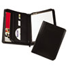Leather Zipper Padfolio w/Writing Pad, Organizer Slots, Black