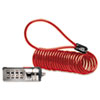 Portable Combination Laptop Lock, 6 ft. Steel Cable, Red