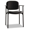 VL616 Stacking Guest Chair with Arms, Black Leather