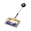 Shell-Style ID Card Holder, Vertical/Horizontal, With Reel, Clear, 10/BX