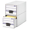 Bankers Box Stor/Drawer File Drawer Storage Box, Legal, White/Blue, 6/Carton