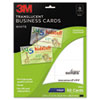 3M Inkjet Translucent Business Cards, 2 x 3 1/2, White, 50/PK