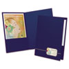 Oxford Monogram Series Business Portfolio, Cover Stock, Blue/Gold, 4/Pack