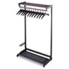 Single-Side, Garment Rack w/Two Shelves, Eight Hangers, Steel, Black