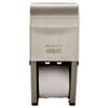 Compact Vertical Double Roll Coreless Tissue Dispenser, 6x6.5x13.5, Stainless