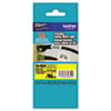 Brother P-Touch TZe Flexible Tape Cartridge for P-Touch Labelers, 1/2in x 26.2ft, Blk on Yellow