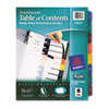 Ready Index Table/Contents Dividers, 8-Tab, Letter, Assorted, 8/Set