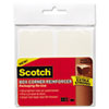 Scotch Box Corner Reinforcement Squares, 4 x 4, Clear, 10/Pk