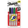 Sharpie Permanent Marker, Brush Tip, Assorted, 4/Set