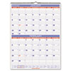 Recycled Two-Month Wall Calendar, Blue and Red, 22&quot; x 29&quot;, 2013