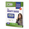 The Mighty Badge Name Badge Starter Kit, Inkjet Inserts, 1 x 3, Gold, 10 per Kit