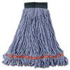 Rubbermaid Commercial Web Foot Wet Mop Head, Shrinkless, Cotton/Synthetic, Blue, Medium, 6/Carton