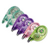 MONO Correction Tape, Assorted Retro Color Dispensers, 1/6&quot; x 394&quot;, 6/Pack