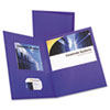 Twin-Pocket Portfolio, Embossed Leather Grain Paper, Purple, 25/Box