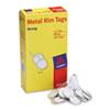 "Metal Rim Marking Tags, Metal/Paper, 1-1/4"" Diameter, White, 500/Box"