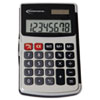 Handheld Calculator, Hard Flip Case, 8-Digit LCD, Dual Power, Silver
