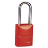 Pro Series High Visibility Aluminum Padlock, 5 Pin, Red