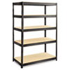 Boltless Steel/Particleboard Shelving, 5 Shelves, 48w x 24d x 72h, Black