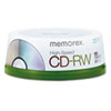 Memorex CD-RW 8x-12x, 700MB/80 min, High-Speed, Spindle, Silver, 25/Pack