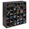 Wood Mail Sorter with Adjustable Dividers, Stackable, 36 Compartments, Black