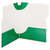 SuperTab Two-Pocket Folders, Letter Size, Green, 5/Pack