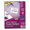 Avery Flexible Self-Adhesive Laser/Inkjet Name Badge Labels, 2-1/3 x 3-3/8, WE, 400/Bx