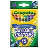 Crayola Ultra-Clean Washable Crayons, Regular, 8 Colors, 16/Box