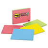 Super Sticky Large Format Notes, 8 x 6, Four Colors, 4 45-Sheet Pads/Pack