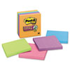 Post-it Notes Super Sticky Note Pads in Electric Glow Colors, 4 x 4, Lined, Assorted, 6 90-Sheet Pads/Pack