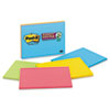 Super Sticky Large Format Notes, 8 x 6, Lined, Four Colors, 4 45-Sheet Pads/Pack