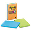 Super Sticky Notes, 4 x 6, Lined, 3 Electric Glow Colors, 3 90-Sheet Pads/Pack