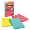 Post-it Notes Super Sticky Super Sticky Jewel Pop Notes, 4 x 6, Lined, 3 90-Sheet Pads per Pack