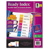 Avery Ready Index Contemporary Contents Divider, 1-8, Multicolor, Letter, 6 Sets/Pack