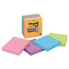 Super Sticky Notes, 3 x 3, Asstd Electric Glow, 5 90-Sheet Pads/Pack