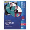 Laser CD/DVD Labels, Matte White, 30/Pack