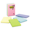 Post-it Notes Original Pads in Pastel Colors, 4 x 6, Lined, Five Colors, 5 100-Sheet Pads/Pack