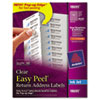 Avery Easy Peel Inkjet Mailing Labels, 2/3 x 1-3/4, Clear, 600/Pack