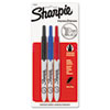 Retractable Ultra Fine Tip Permanent Marker, Black, Blue, Red, 3/Set