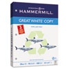 Hammermill Great White Recycled Copy 3-Hole Punched Ppr, 92 Brightness, 20lb, Ltr, 5000/Ctn