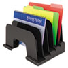 Universal Large Incline Sorter, Five Sections, Plastic, 13 1/4 x 9 x 9, Black